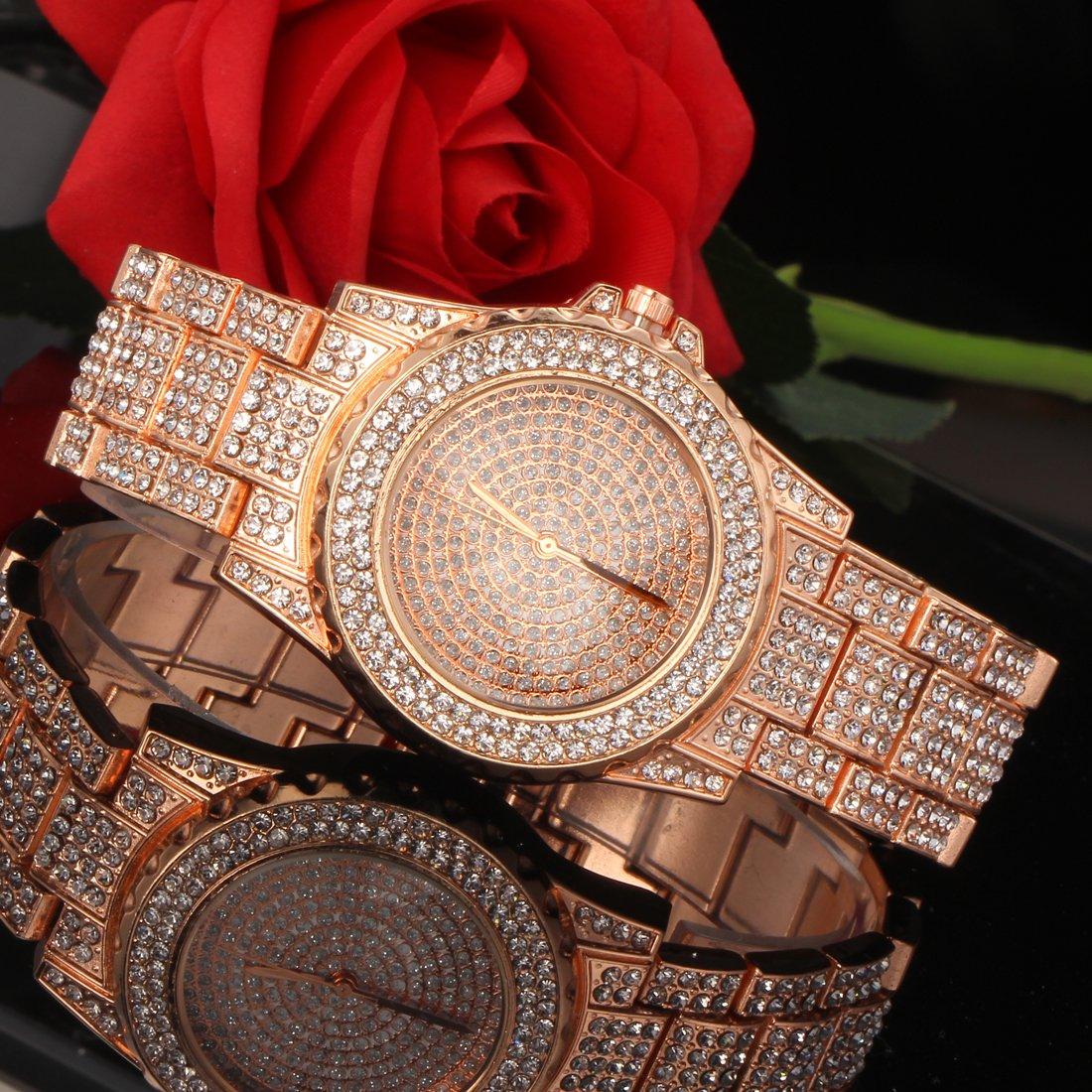 Amazon.com: SINOBI Iced Out Reloj de cuarzo de diamante ...