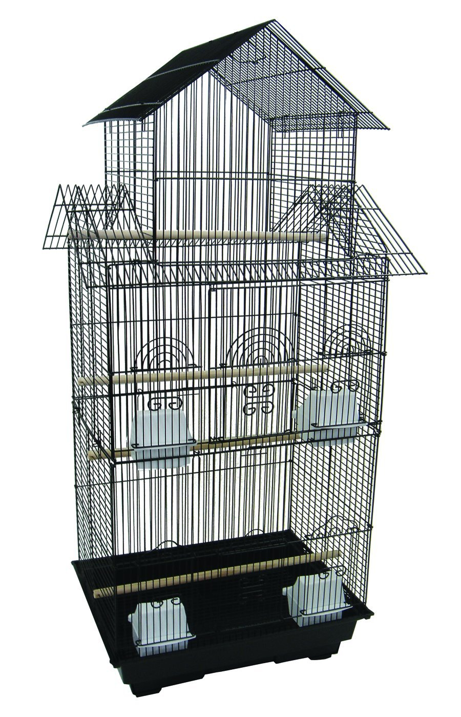 YML 6844 3/8 Bar Spacing Tall Pagoda Top Bird Cage with Stand Black YML GROUP INC 6844BLK