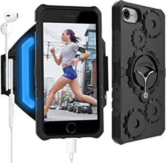 LOVPHONE iPhone 7/7 Plus Armband & Armour Case Set Multifunctional Sport Running Armband + Premium Protective Case with Kickstand for iPhone 6/6S/7/7 Plus,Soft Elastic Strap with Key Holder