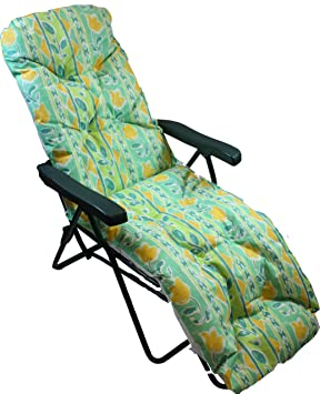 Garden Patio Relaxer Lounger Chair Cushion Bright Green Flower