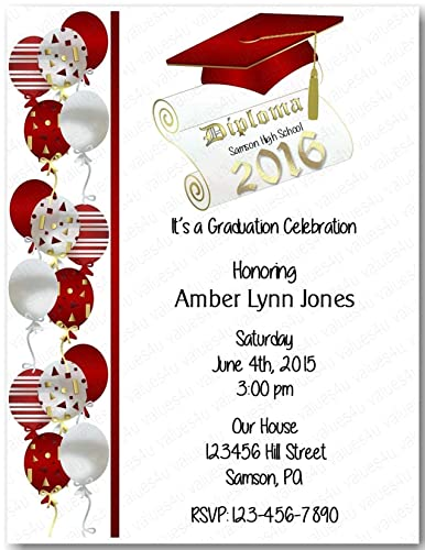 Image Unavailable. Image not available for. Color: Personalized Graduation Party Invitation ...