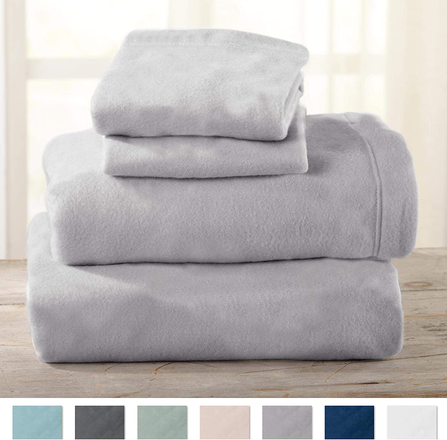 Home Fashion Designs Maya Collection Super Soft Extra Plush Fleece Sheet Set. Cozy, Warm, Durable, Smooth, Breathable Winter Sheets in Solid Colors (Queen, Paloma Grey)