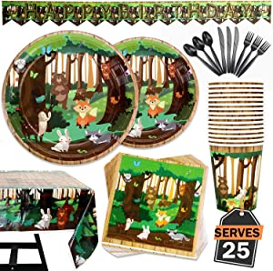 177 Piece Woodland Animals Party Supplies Set Including Banner, Plates, Cups, Napkins, Tablecloth, Spoon, Forks, and Knives, Serves 25