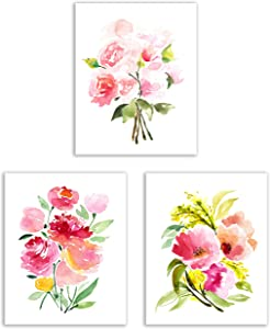 Floral Watercolor Pastel Flower Art Prints — Set of Three 8x10 Photos — Pretty Pink Collection of Zinnias, Poppies, Peonies and Ranunculus