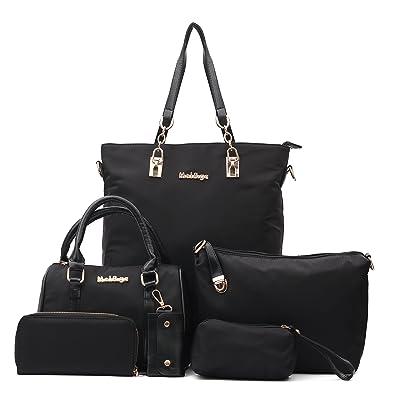 76a7d683693 Mei&ge Nylon, Artificial Leather Handbags, Purses for Women, Ladies, set of  6