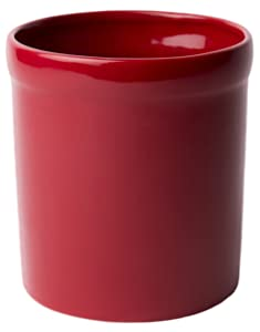 American Mug Pottery Ceramic Utensil Crock Utensil Holder, Made in USA, Burgundy / Red
