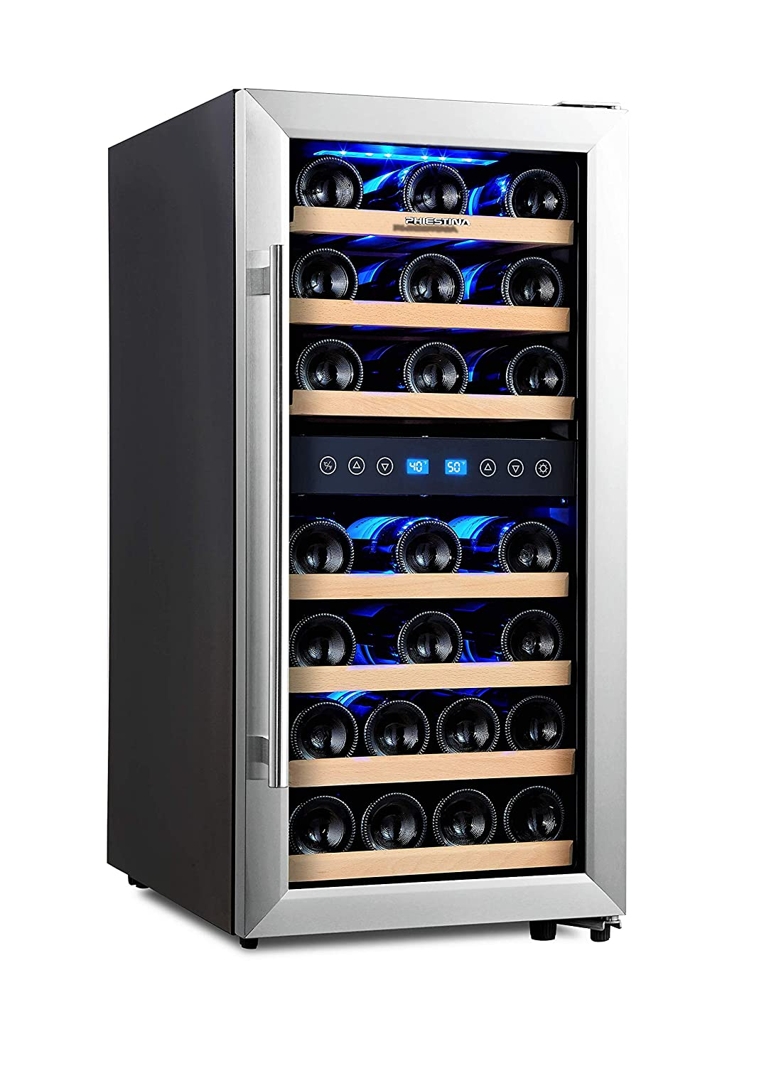 Phiestina 33 Bottle Wine Cooler Double Zone Steel Door with Handle