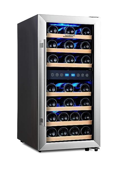 Phiestina 33 Bottle Wine Cooler Double Zone Steel Door with Handle