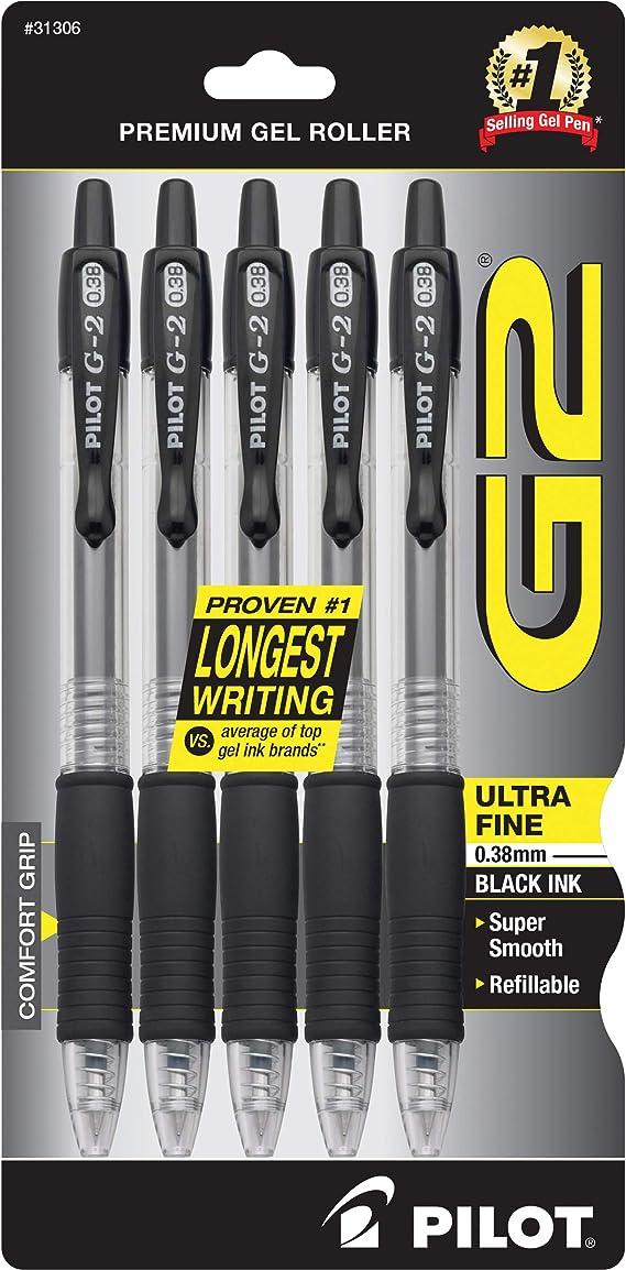 Pilot G2 Gel Pen Extra Fine Point Black Ink 5//Pack 755956 31173