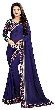 5a1a54cd9d5f88 Online Bazaar Navy Blue Faux Georgette Women Saree (Includes Blouse Piece)