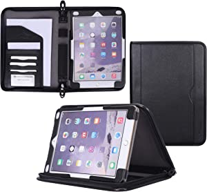 rooCASE iPad 9.7 2018/2017 Case - Premium Leather Executive Portfolio Case - Detachable Sleeve, Document and Card Holder, Apple Pencil Sleeve for Apple iPad 9.7-inch Tablet 2017/2015, Black