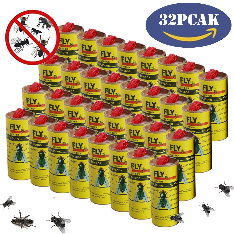 ALLMILL Fly Paper Strips,Fly Catcher Trap,Fly Trap,Fly Paper Ribbon,Fly Bait,Sticky Fly Ribbons,Sticky Fly Strips, Flying Killer-32PCS