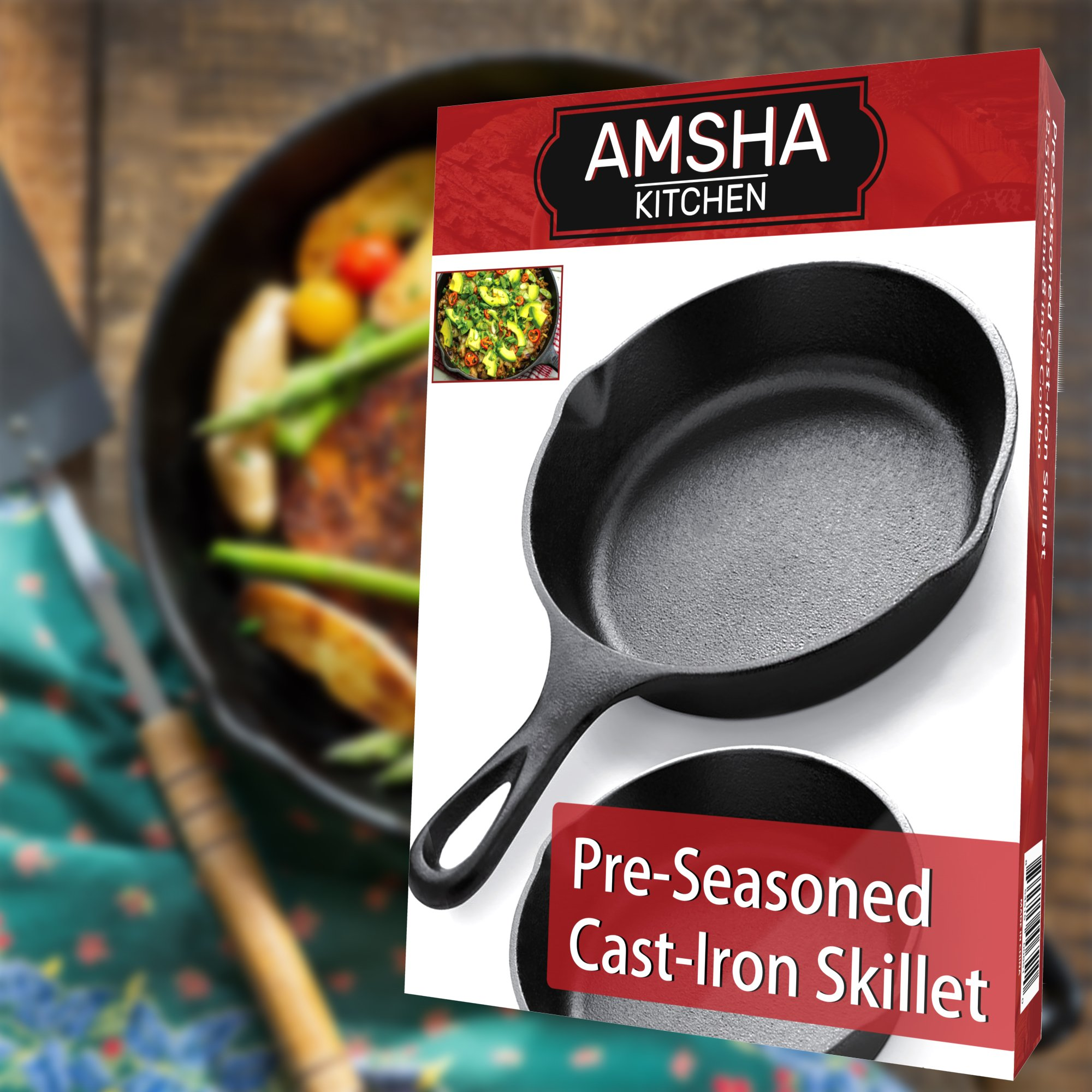 Pre-Seasoned Cast Iron Skillet 2 Piece Set (12.5 inch & 8 inch Pans) Best Heavy Duty Professional Restaurant Chef Quality Pre Seasoned Pan Cookware Set - Great For Frying, Saute, Cooking Pizza & More by Amsha Kitchen (Image #9)