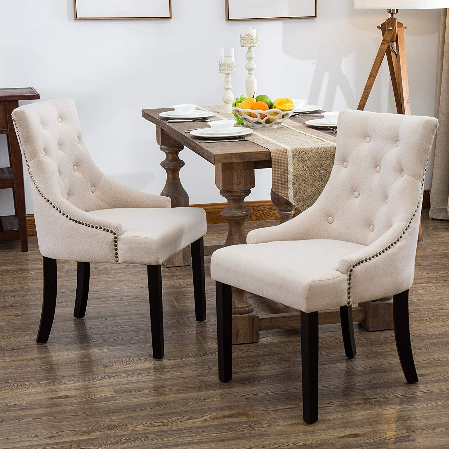 Mecor Fabric Dining Chairs Set of 2,Leisure Padded Chair with Armrest,Black Solid Wooden Legs Beige