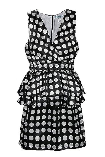 cdf6afe8512e OE2-12 Women's Elegant Vintage Polka Dot Cocktail Dress Size S - Black