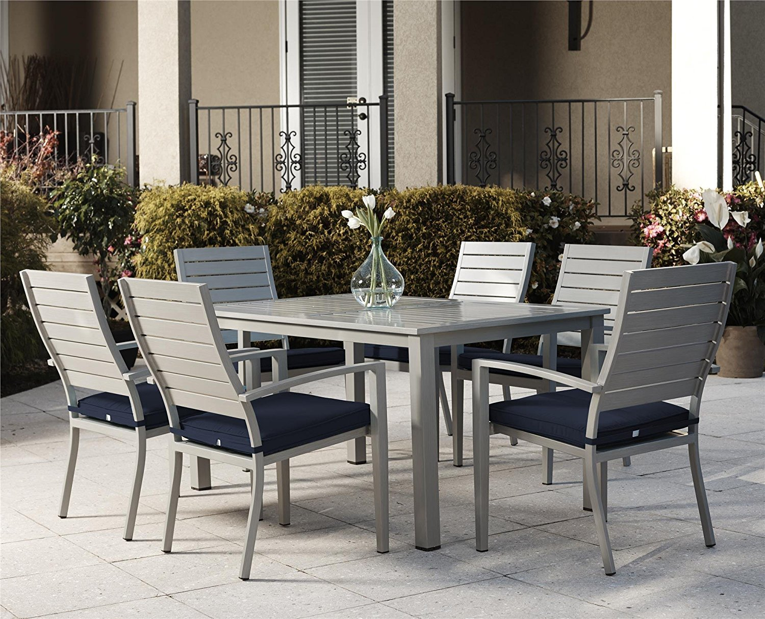 Stackable outdoor chairs lightweight peppermill interiors - Amazon Com Cosco Outdoor 7 Piece Blue Veil Brushed Aluminum Patio Set With Aluminum Frame Navy Blue Cushions Garden Outdoor