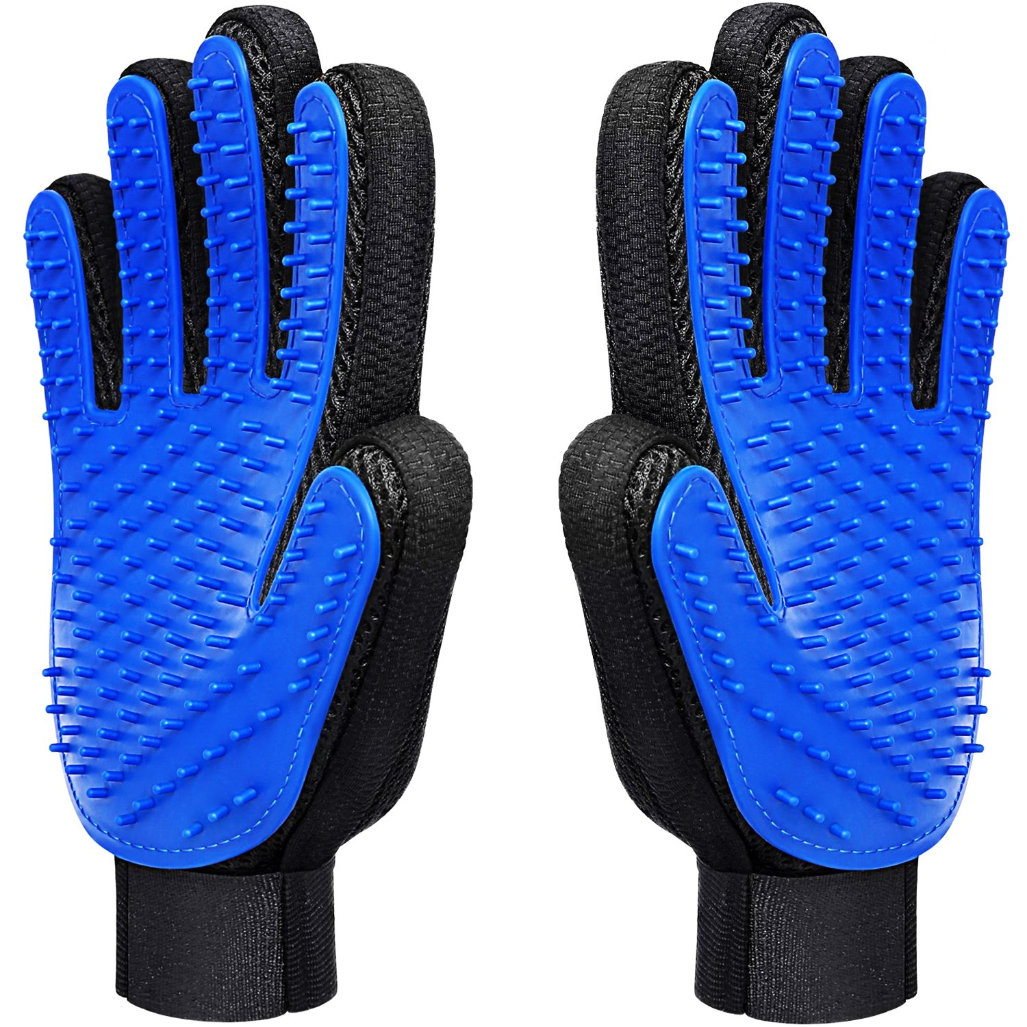 CU QUAN Pet Grooming Glove, Efficient Pet Hair Remover Mitts with Gentle Massage Tool, Five Finger Design Perfect for Dogs and Cats - One Pair (Blue)