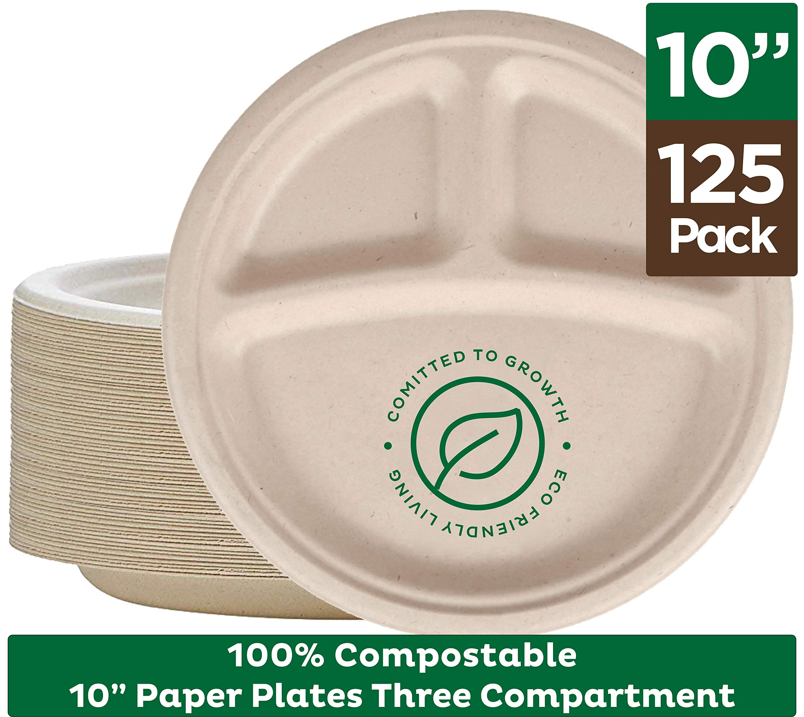 100% Compostable Paper Plates [10 inch - 125-Pack] 3 Compartment Disposable Plates Heavy-Duty Quality, Natural Bagasse Eco-Friendly Made of Sugar Cane & Wheat Straw Fibers, 10'' Biodegradable Plates