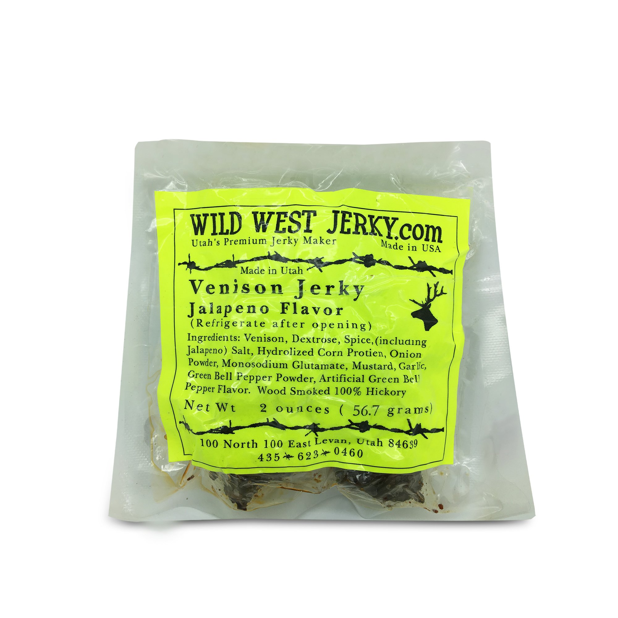 Wild West Jerky #1 Best Premium 100% Natural Grass Fed Hand Stripped 2 OZ. Thick Cut Delicious Tasty Bold Flavor Venison (Deer) Jerky from Utah USA - Wood Smoked with Hickory Wood (Jalapeno 1 Pack)