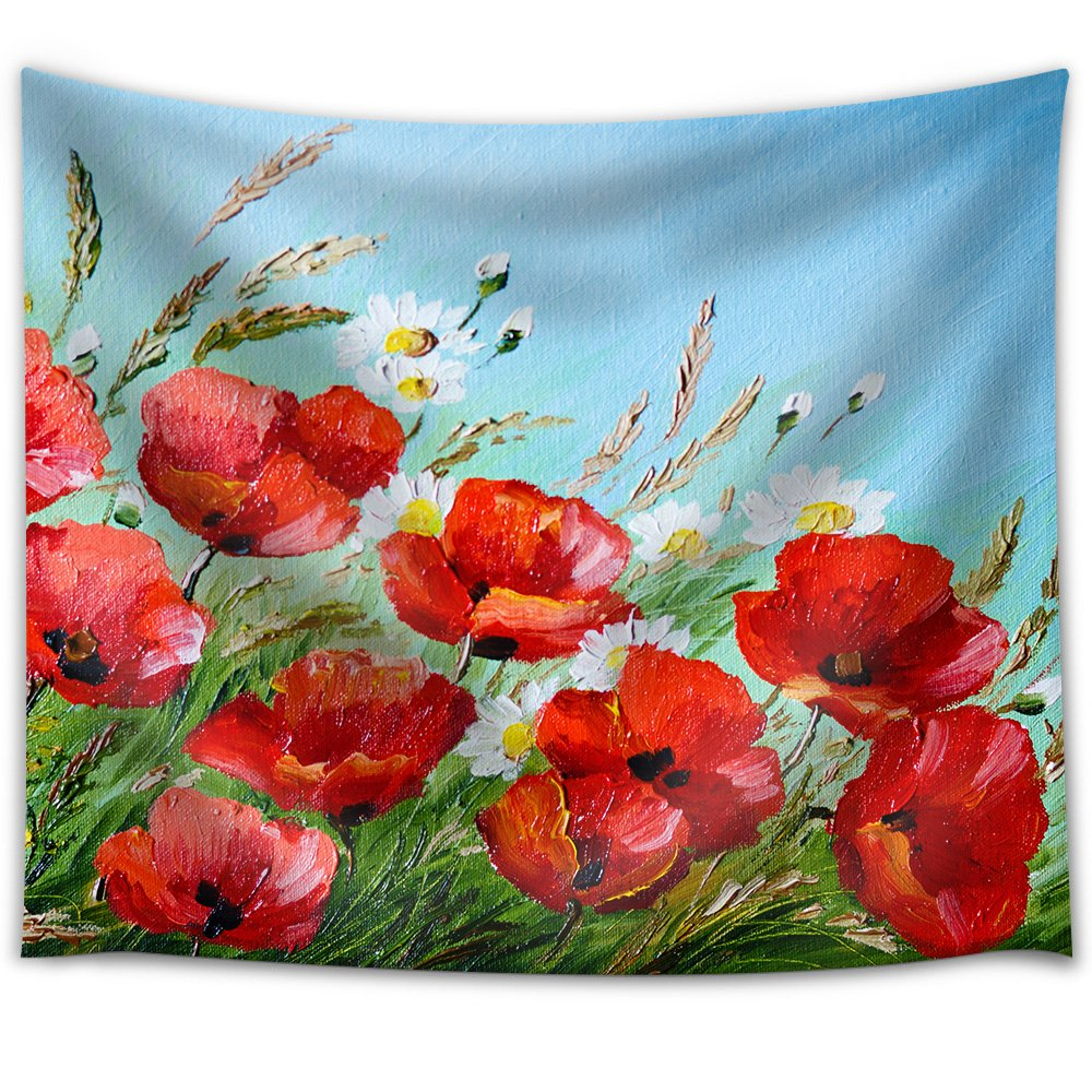 Oil Painting Poppies In The Field Flowers Spring Fabric Wall