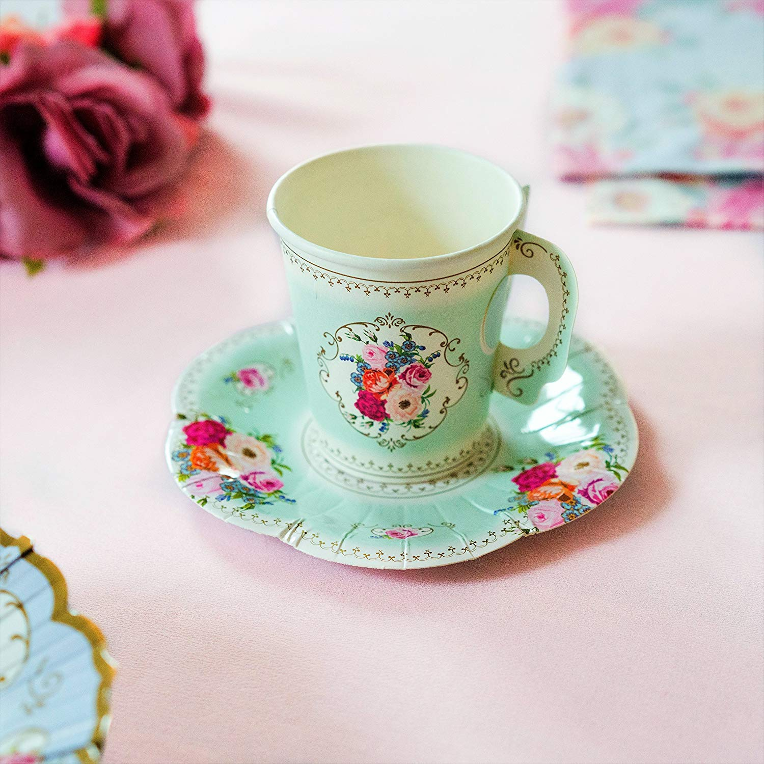 Talking Tables Truly Scrumptious Vintage Floral Paper Tea Cups with Handles and Saucers for a Tea Party or Birthday (24 Pack) ...