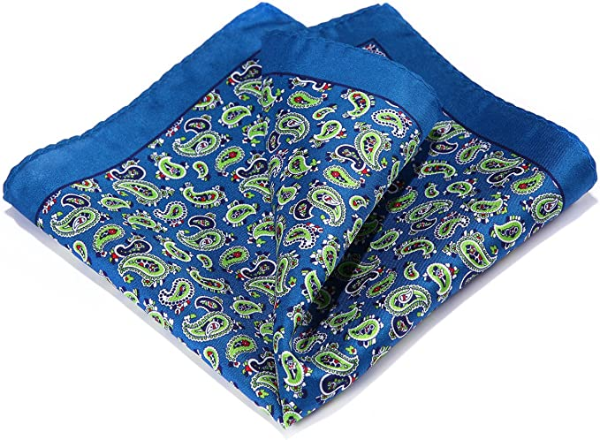 Men Fashion Colorful Floral Paisley Pocket Square Wedding Party Handkerchief