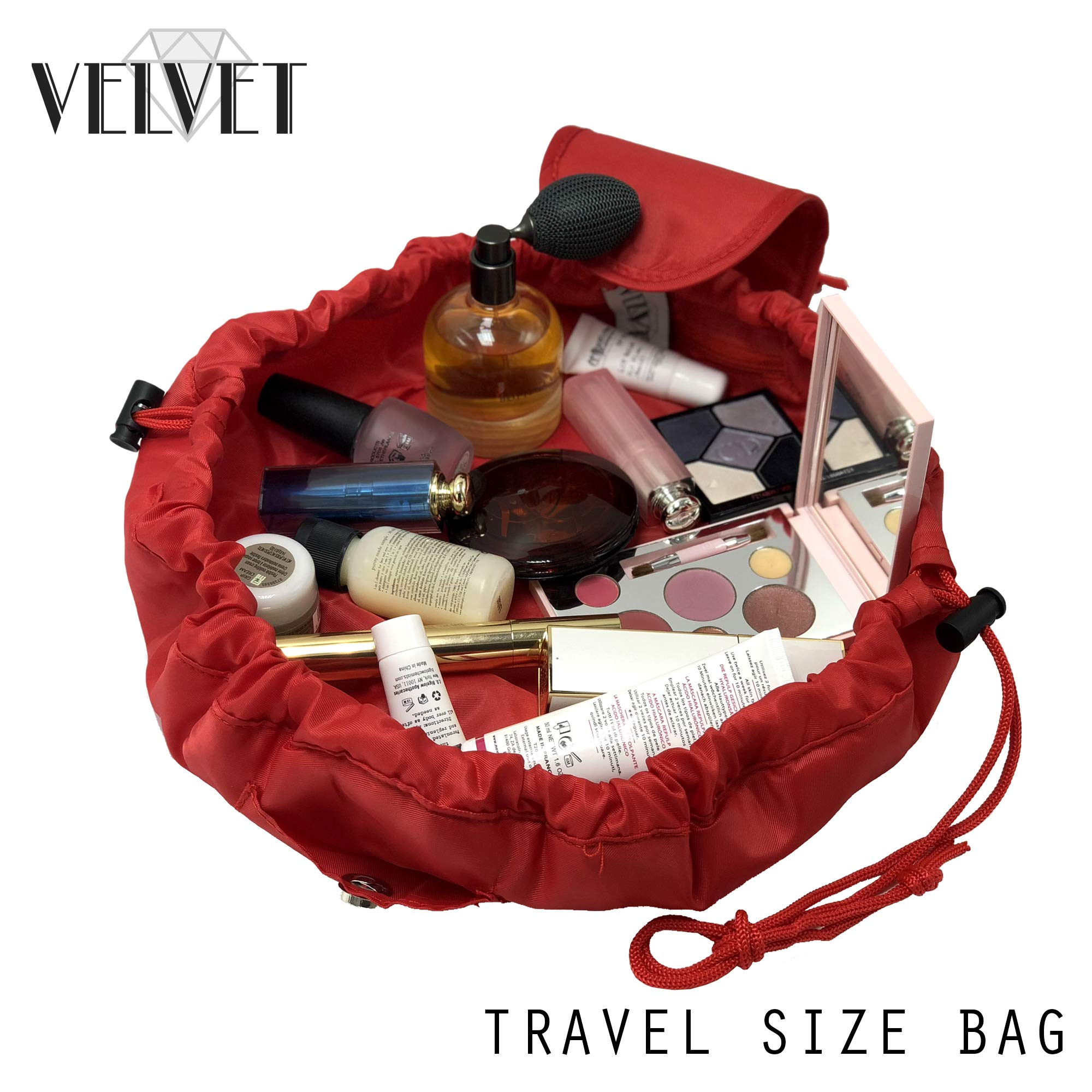 Toiletry Travel Bag | Lazy Drawstring Makeup Organizer with Magnetic Snap | Waterproof Cosmetic Pouch for Women, Men, Girls (Large 18 inches, Red)