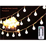 """[Remote & Timer] 33Ft Outdoor Globe String Lights 100LED Warm White Fairy Twinkle Lights(3/4"""" Dia Globe) with Remote 8 Modes Controller & UL Listed Adaptor Plug-for Party/Garden/Wedding Decor"""