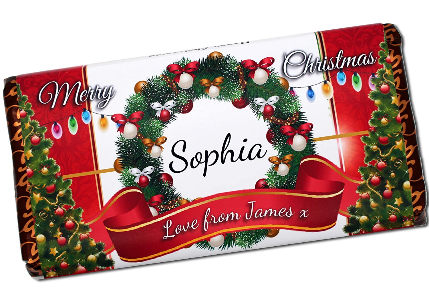 Christmas Chocolate.Personalised Merry Christmas Chocolate Bar 114g Xmas Girls Boys Mum Dad Stocking Fillers Gift Ideas Present For Him Her N116