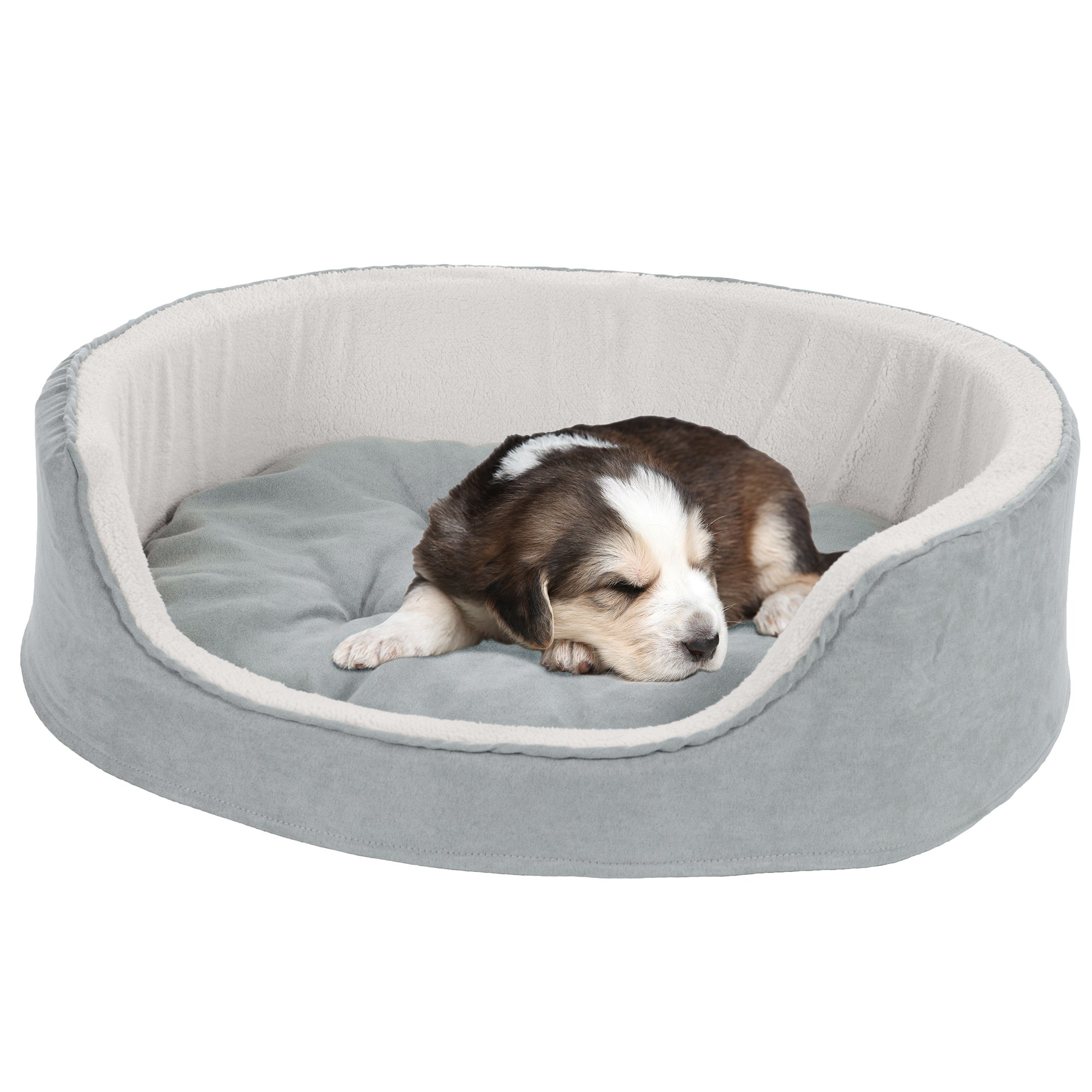PETMAKER Small Cuddle Round Microsuede Pet Bed - Gray