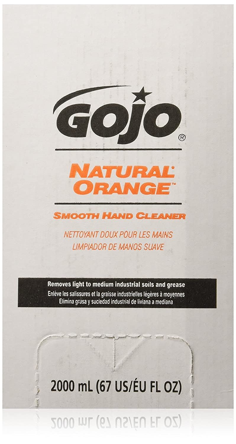 GOJO 7250-04 Natural Orange Smooth Hand Cleaner, 2000 mL Refill, 4-Pack