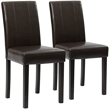 Best Choice Products Set Of 2 Faux Leather Dining Chairs For Home Furniture,  Kitchen,