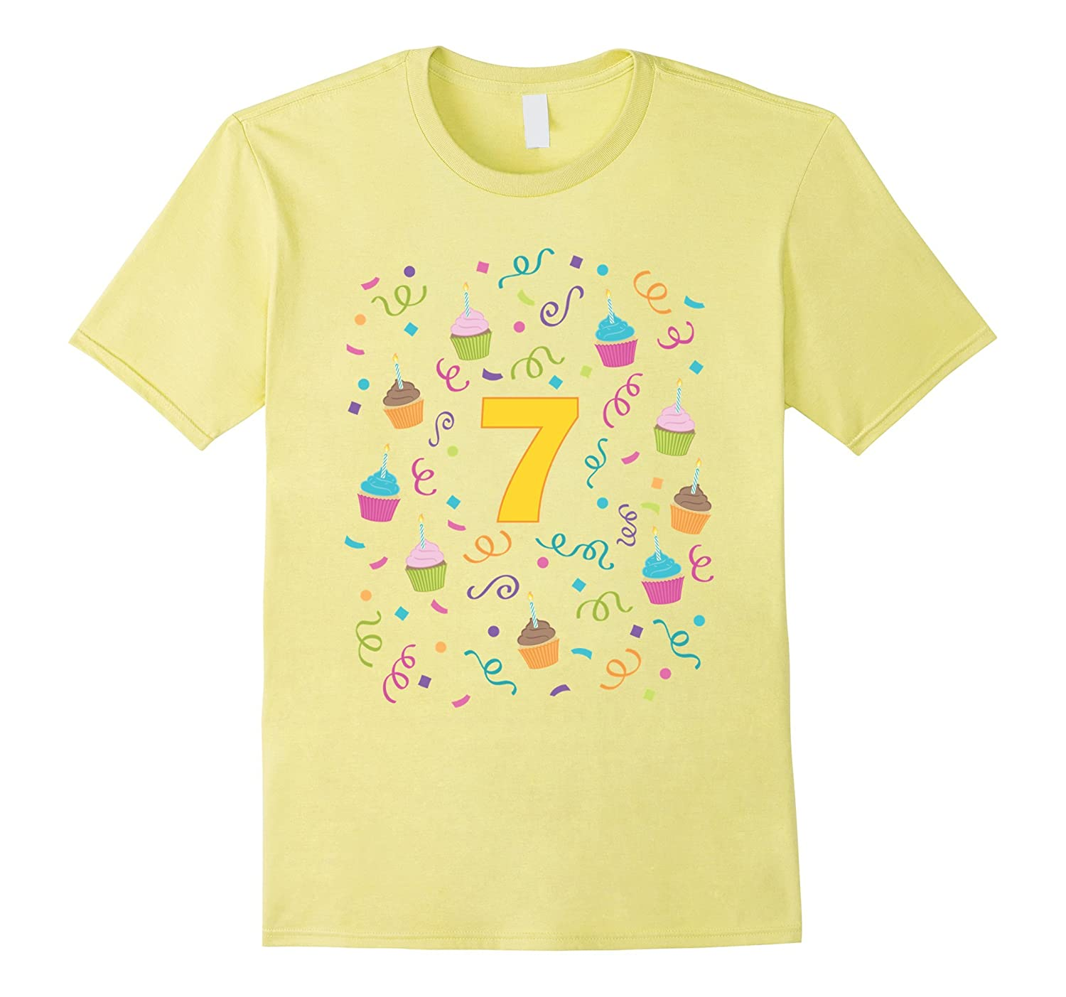 Cupcake Birthday Shirt Age 7 Seven Year Old Girl Boy Kids TH