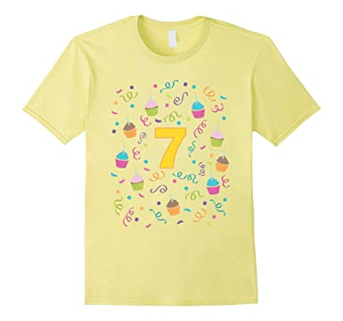 Mens Cupcake Birthday Shirt Age 7 Seven Year Old Girl Boy Kids 3XL Lemon