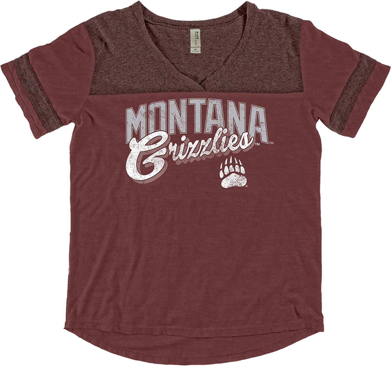 Blue 84 NCAA Montana Grizzlies Adult Women NCAA Womens Dyed Varsity Tee,Medium,Maroon