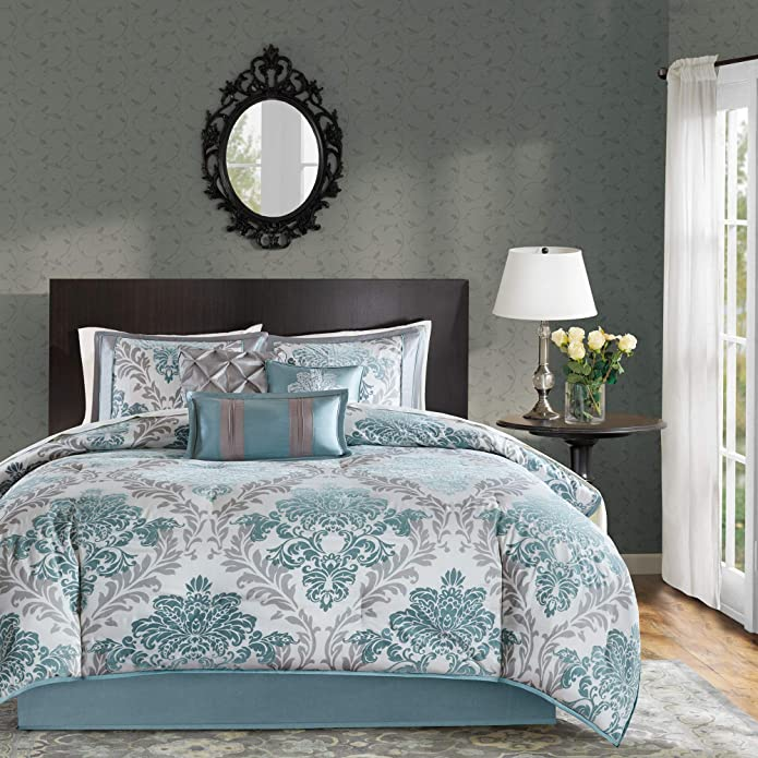 7 Piece Charlize Printed Comforter Set (King) - Aqua