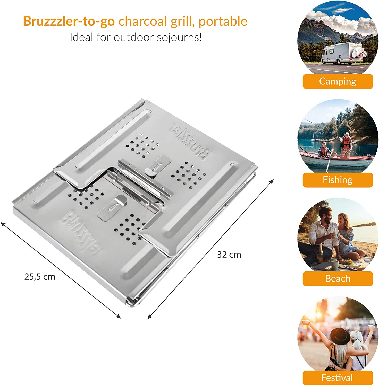 Bruzzzler To-go Barbacoa Vegetal Plegable, de Camping, portátil, Adecuado para Exteriores, carbón o briquetas, Acero Inoxidable: Amazon.es: Jardín
