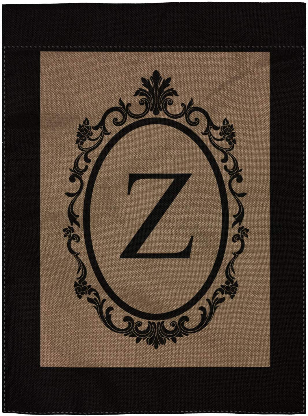 "pingpi Z Garden Flag Burlap Monogram Flag Double Sided 12.5"" X 18"""