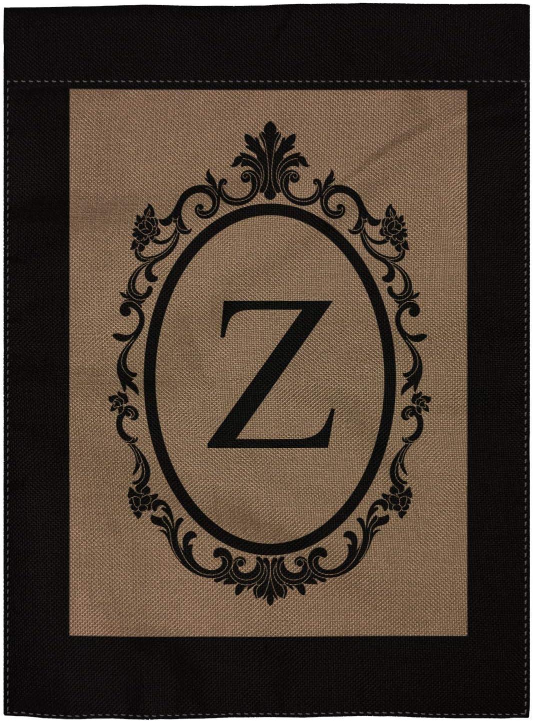 """pingpi Z Garden Flag Burlap Monogram Flag Double Sided 12.5"""" X 18"""""""