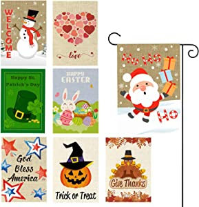 GROBRO7 8Pack Seasonal Garden Flags Set Double Sided Print Outdoor Lawn Decor Burlap Holiday House Flag Holiday Yard Flags Decorative for Christmas Valentine Easter Independence St. Patrick 12x18 Inch