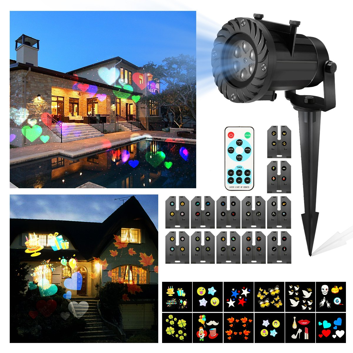 Christmas Projector Lights, JELEGANT LED Landscape Lights Projector Spotlights with Remote Control Waterproof Decoration Lighting with 12pcs Switchable Pattern Show for Halloween Holiday Party by JELEGANT (Image #2)