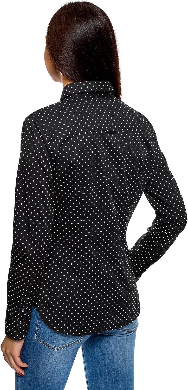 oodji Ultra Mujer Camisa B/ásica de Algod/ón