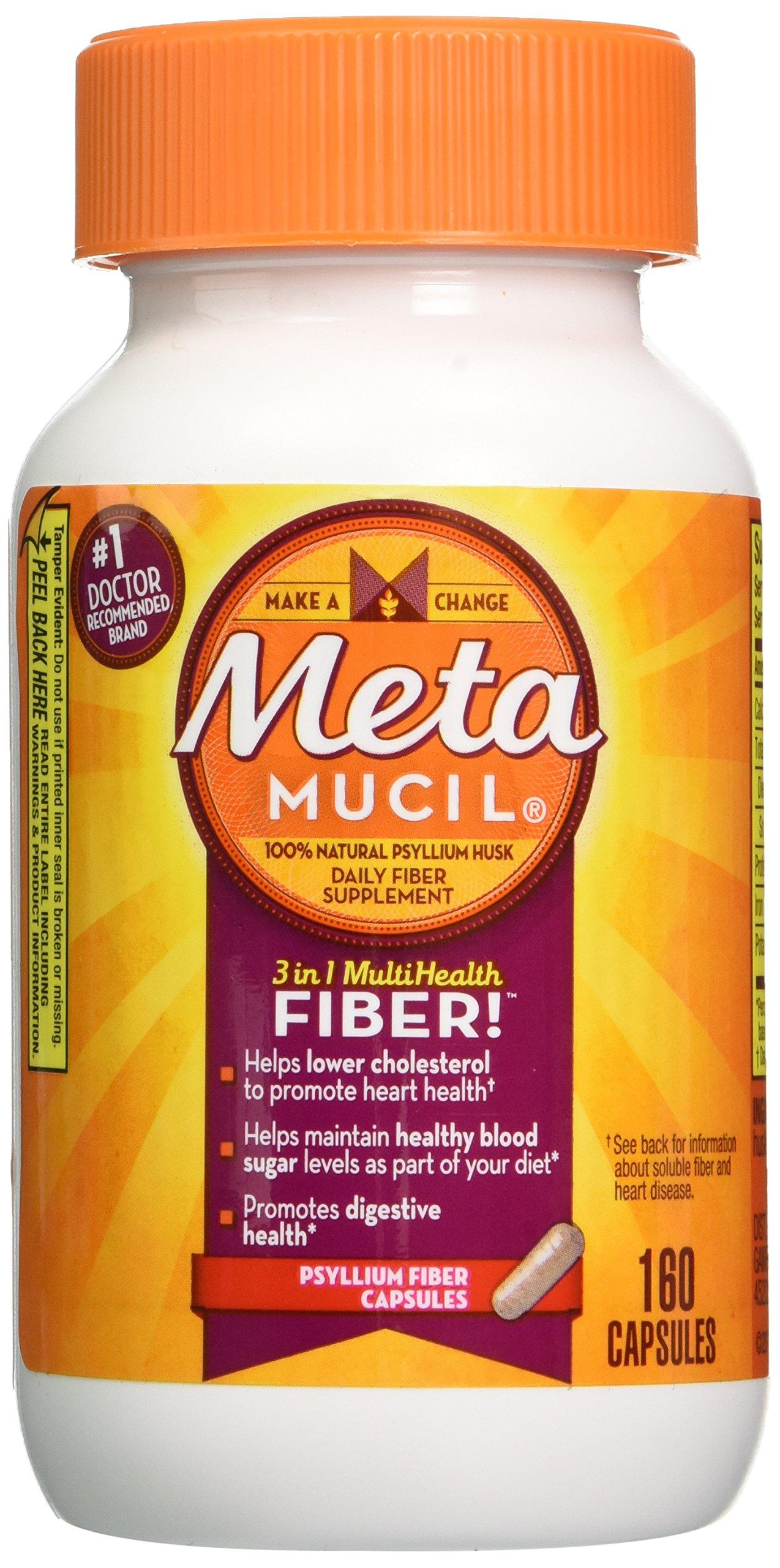 Metamucil 100% Natural Psyllium Fiber Capsules, 160 Count Bottle by Metamucil