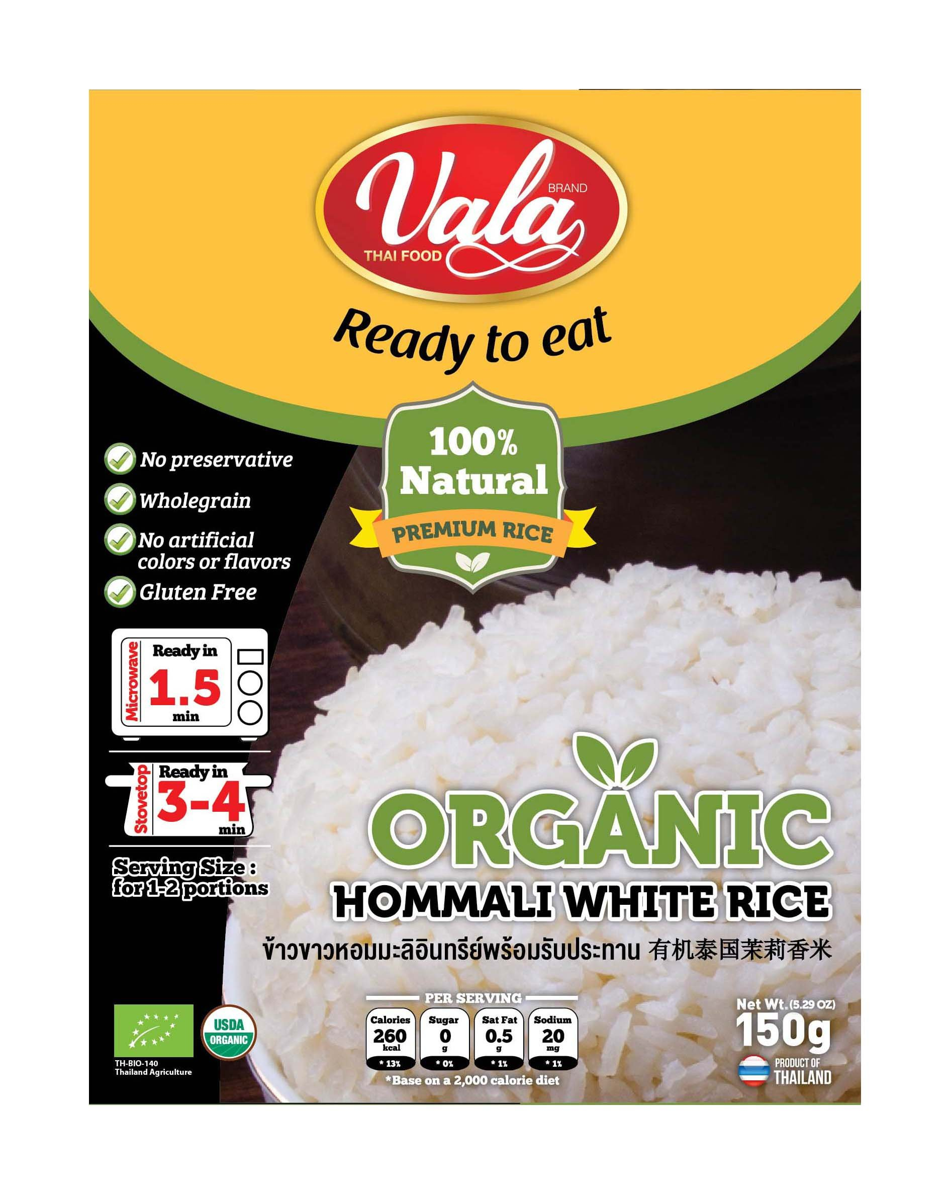 Vala Thai Food Ready to eat Organic Hommali White Rice 5.29 Ounce (Pack Of 6) Small
