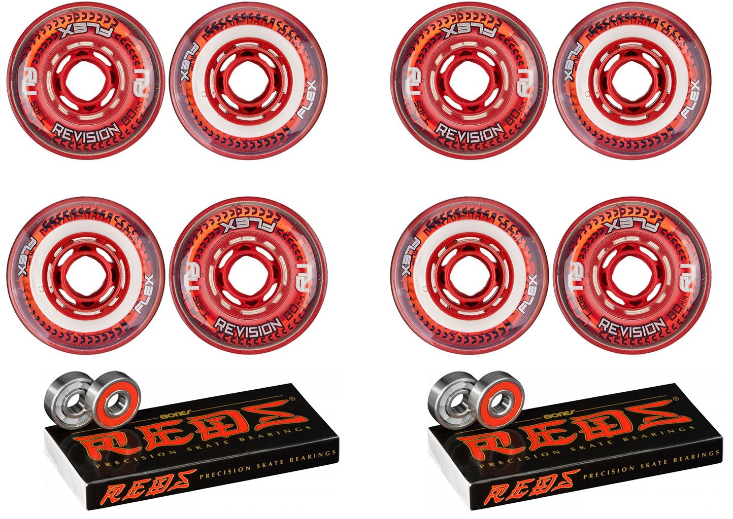 Revision Wheels Inline Roller Hockey Flex Soft Red 76mm 8-Pack w/Bones Bearings