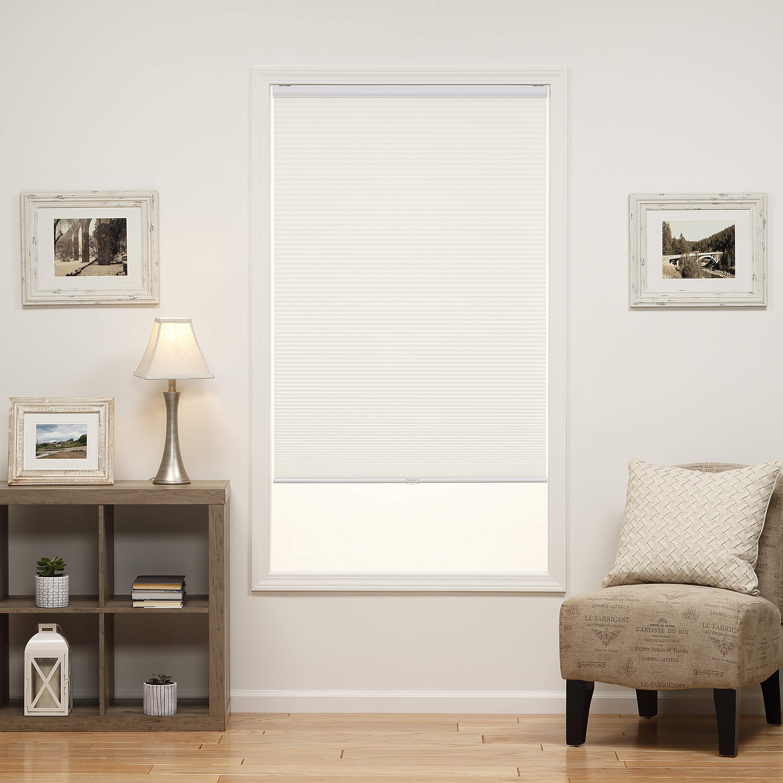 DEZ Furnishings QCWT264480 Cordless Light Filtering Cellular Shade, 26.5W x 48H Inches, White