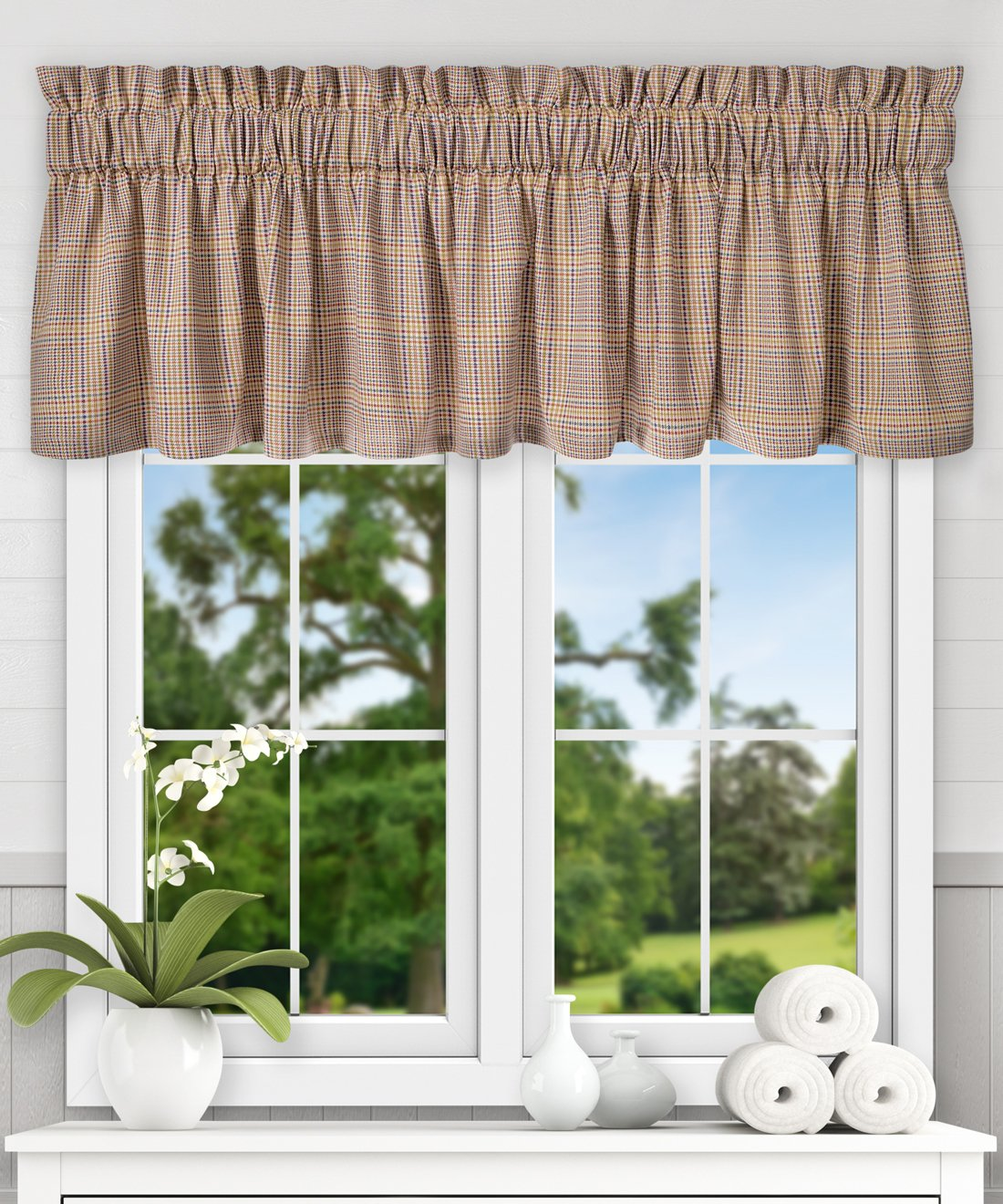 "Ellis Curtain Morrison Multi Colored Plaid 100-Percent Cotton (Tailored Valance, 80 x 15"", Patrio"