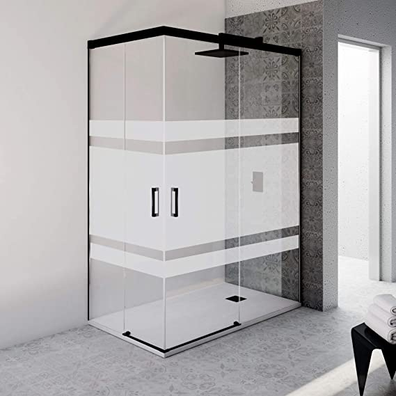 Mampara de ducha rectangular sin perfil inferior con cristal serigrafiado con vinilo - 6 mm de grosor - Perfil acabado en negro (70 a 90x160 a 170 cm.): Amazon.es: Bricolaje y herramientas
