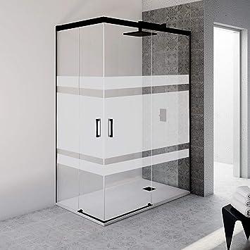 Mampara de ducha rectangular sin perfil inferior con cristal serigrafiado con vinilo - 6 mm de grosor - Perfil acabado en negro (70 a 90x89 a 99 cm): Amazon.es: Bricolaje y herramientas