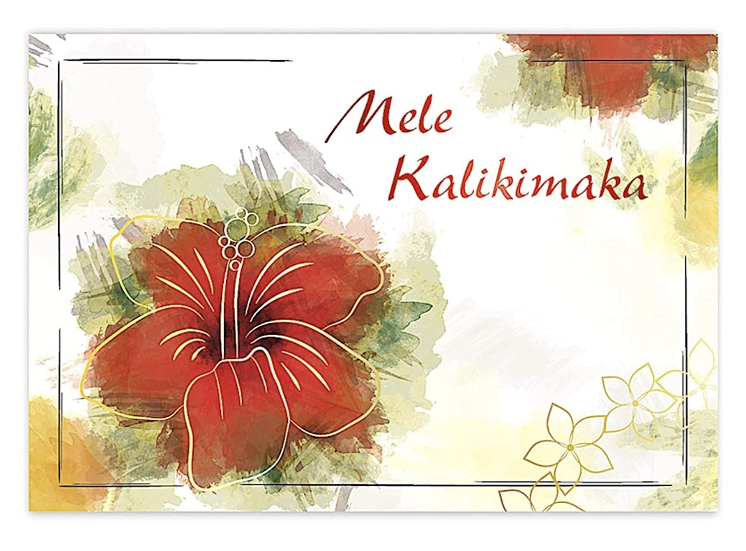 Amazon.com : Hawaiian Hibiscus Kalikimaka Christmas Cards : Office ...